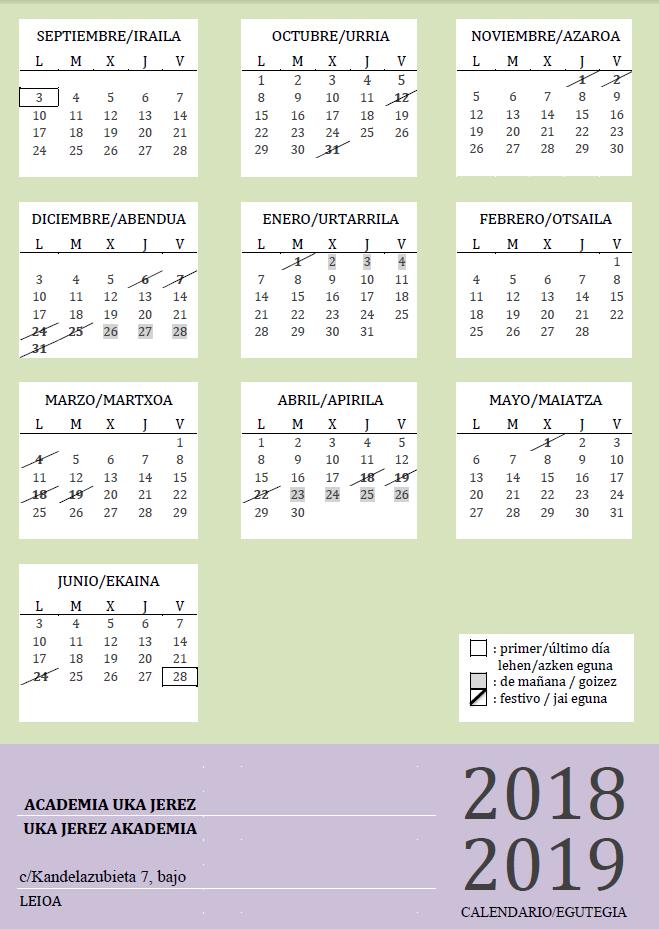 Calendario Uka Jerez (www.ukajerez.es)