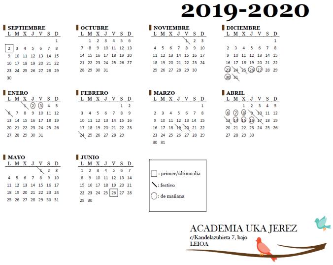 Calendario Academia Uka Jerez curso 2019/20